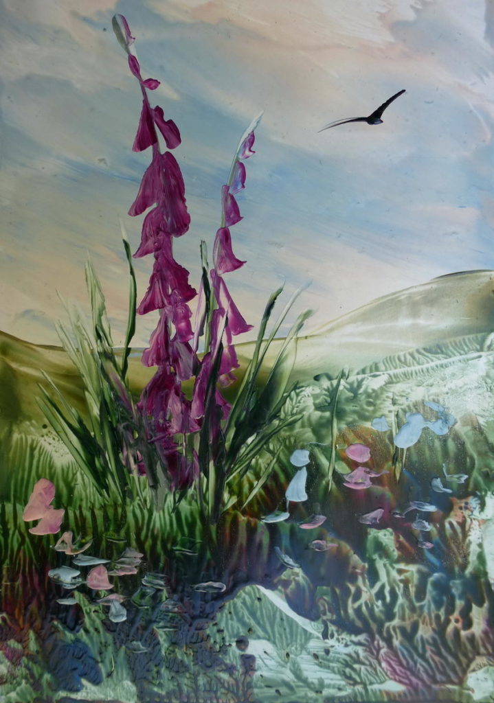 Foxgloves created with encaustic art wax blocks and a the painting iron.