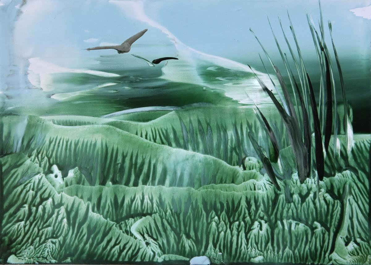 Landscape in the wax colours of encaustic art
